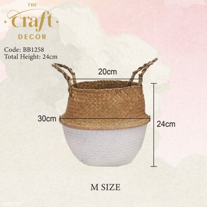 Natural Seagrass Half White Foldable Basket