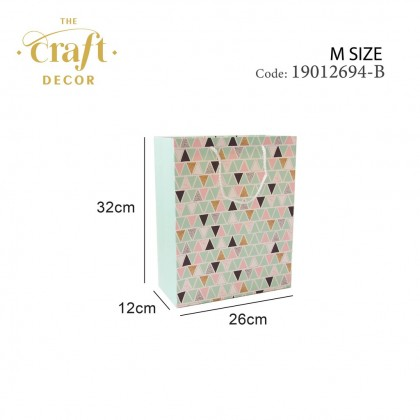 12pcs Triangle Design Paper Gift Bag(M)