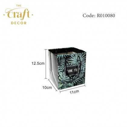 10pcs 11x10x12.5cm Tropical Leaves Paper Bag
