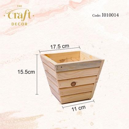 15.5x17.5x11cm Wooden Vase