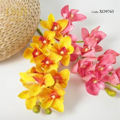 10 Heads 3D Latex Cymbidium Orchid