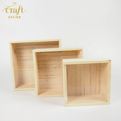 Wooden Storage Box with Sliding Top