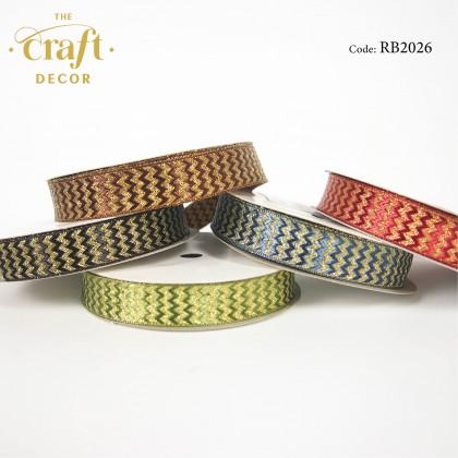 1.7cmx15Yards Zigzag Glitter Ribbon