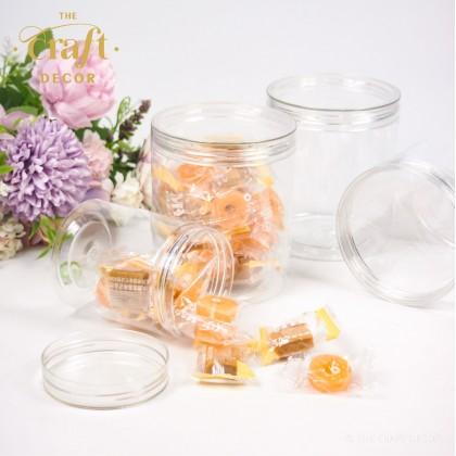 12-24pcs/pkt Transparent Round Plastic Bottle Jar