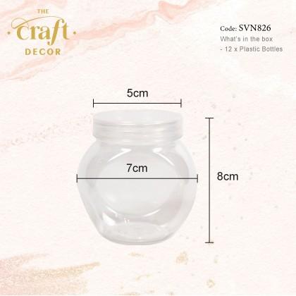 12pcs/pkt Transparent Round/Hexagon Plastic Bottle